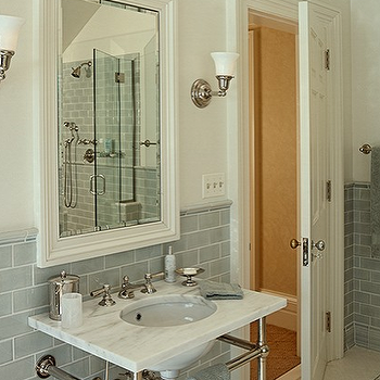 Crisp Architects - bathrooms - ivory, mirror, ivory, walls, blue, gray, glass, subway tiles, backsplash, 2 leg, marble, washstand, gray subway tile, gray glass subway tile, gray subway tile backsplash, gray subway bathroom backsplash, gray glass subway backspalsh,