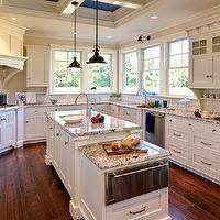 Farinelli Construction - kitchens - ivory, kitchen cabinets, coffered, ceiling, kitchen island, drop down, cabinet, granite, countertops, subway tiles, backsplash, sink in kitchen island, oil-rubbed bronze, industrial, pendants, granite countertops, polar cream granite, polar cream countertops, polar cream granite countertops,