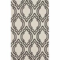 Handmade Luna Modern Trellis Ivory Wool Rug (7'6 x 9'6), Overstock.com