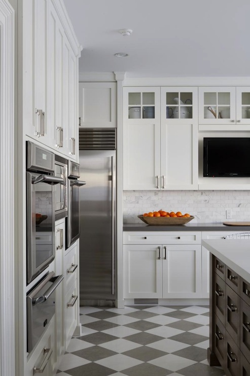 Foley & Cox - kitchens - white, shaker, kitchen cabinets, gray, quartz, countertops, marble, subway tiles, backsplash, walnut, kitchen island, white, quartz, countertop, TV, warming drawer,