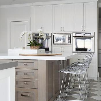 Foley & Cox - kitchens - walnut, kitchen island, white, quartz, countertop, white, kitchen cabinets, gray, quartz, countertops, white, gray, checkered, tiles, floor, checkered floor, checkered kitchen floor, checkered tile kitchen, checkered tiled floor, , Bertoia Counter Stool,