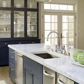 James R. Salomon Photography - kitchens - cobalt, blue, cabinet hutch, blue, kitchen island, marble, countertop, sink in kitchen island, bridge, faucet, industrial, pendants, bleu island, blue kitchen island, triple dishwashers, kitchen with 3 dishwashers,