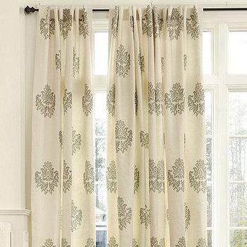 Window Treatments - Bingham Printed Damask Panel | European-Inspired Home Furnishings | Ballard Designs - bingham, printed, damask, panel, drapes