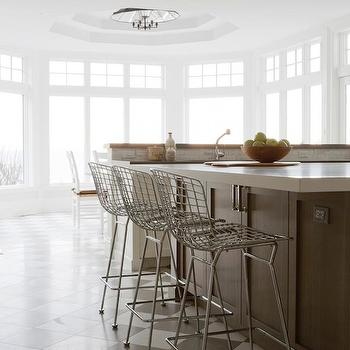 Foley & Cox - kitchens - white, gray, checkered, tiles, floor, coffee stained, kitchen island, white, quartz, countertop, checkered floor, checkered kitchen floor, checkered tile kitchen, checkered tiled floor, white and gray checkered floor, Bertoia Counter Stool,