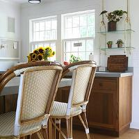Foley &amp; Cox - kitchens - oak, kitchen cabinets, oak, kitchen island, gray, corian, countertops, brass, hanging, glass, shelves, French, bistro, counter stools, Sienna Flush Mount with Flat Panel,