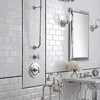 Ann Sacks - bathrooms - rain, shower head, 2 leg, marble, washstand, beveled, mirror, An sacks, subway tiles, pencil rail, beveled, subway tile shower, white subway tiles, white subway bathroom tile, white subway tile shower,