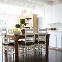 Foley & Cox - kitchens - creamy, white, shaker, kitchen cabinets, white, quartz, countertop, subway tiles, backsplash, farmhouse, dining table, turned legs, white, farmhouse, dining chairs, farmhouse chairs, farmhouse dining chairs, farmhouse kitchen chairs,