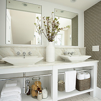 Susan Gilmore Photography - bathrooms - gray, linear, tiles, accent wall, white, double bathroom vanity, marble, countertop, backsplash, twin, vessel, sinks, wall-mount, faucet, kit, subway tiles, floor,