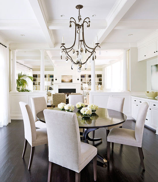 Traditional Home - dining rooms - Benjamin Moore - Morning Dew - Sutcliffe Dining Table, Restoration Hardware Hudson Parsons Upholstered Side Chair, gray, walls, coffered ceiling, bronze, crystal, drops, chandelier, round, dining table, parsons dining chairs, upholstered dining chairs,