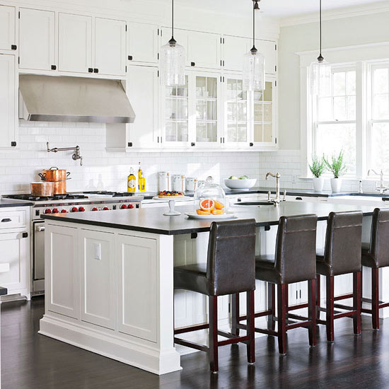 Traditional Home - kitchens - Benjamin Moore - Morning Dew - Benjamin Moore Cloud White, Niche Modern Bella Pendant, green, gray, walls, creamy, white, kitchen cabinets, kitchen island, black, honed, granite, countertops, Ann sacks, subway tiles, backsplash, brown, leather, counter stools, Rohl, farmhouse sink, Rohl, faucets, Rohl, pot filler,