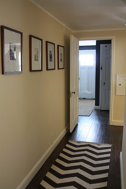 Russet Street Reno - entrances/foyers - Behr - Antique White - West Elm Zigzag Rug, ivory, walls, black, white, photo gallery,  Fantastic hall