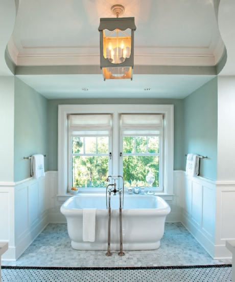 Cottage Gardens - bathrooms - gray, green, walls, chair rail, wainscoting, freestanding tub, nook, marble, tiles, floor, gray, lantern, bathroom wainscoting, master bathroom waisncoting,