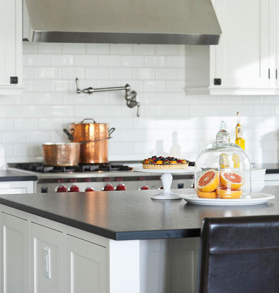 Traditional Home - kitchens - Benjamin Moore - Cloud White - copper pots, creamy, white, shaker, kitchen cabinets, kitchen island, honed, black, granite, countertops, Ann Sacks, subway tiles, backsplash, glass, cloche, Rohl, pot filler,