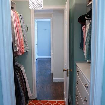 Russet Street Reno - closets - aqua, blue, walls, orange, clementine, Moorish tiles, rug, turquoise walls, turquoise blue walls, turquoise paint, turquoise blue paint, turquoise paint colors, turquoise blue paint colors, Overstock Chrome/Crystal 1-light Mini Pendant Square Chandelier,
