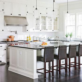 Traditional Home - kitchens - green, gray, walls, creamy, white, kitchen cabinets, kitchen island, black, honed, granite, countertops, Ann sacks, subway tiles, backsplash, brown, leather, counter stools, Rohl, farmhouse sink, Rohl, faucets, Rohl, pot filler, cloud white cabinets, cloud white kitchen cabinets, white kitchen cabinets, painted kitchen cabinets, white cabinet paint colors, white kitchen cabinet paint colors, Benjamin Moore Cloud White, Niche Modern Bella Pendant,
