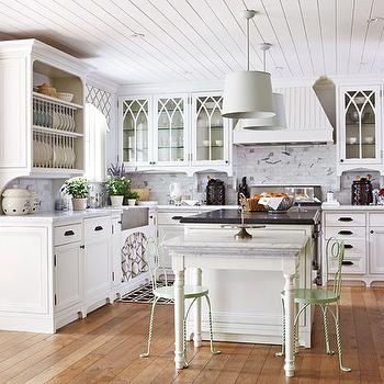 Traditional Home - kitchens - green, wire, chairs, groove, ceiling, drum, pendants, stainless steel, apron, sink, white, kitchen cabinets, marble, countertops, white, kitchen island, black, beveled, honed, granite, countertop, drop down, marble, top, table, plate rack, built in plate rack,