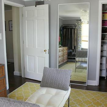 Russet Street Reno - closets - gray, walls, Target, gray, crocheted, pillows, yellow, Pottery Barn, Moorish tiles, rug, leaning, floor mirror, Pier 1, tufted, bench, yellow trellis rug, trellis rug, moorish tile rug, yellow moorish tile rug, pottery barn moorish tile rug, pottery barn moorish tiles rug,