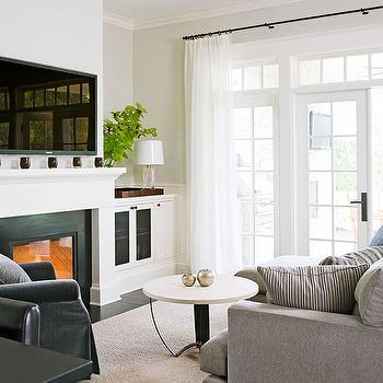 Traditional Home - living rooms - greige, walls, TV, built-in, cabinets, flanking, fireplace, wall, French doors, transom, windows, gray, sofa, fireplace cabinets, Benjamin Moore Cloud White, Wisteria Sleek Marble-Top Coffee Table,