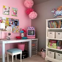 Baby Space - girl's rooms - gray, pink, walls, pink, pom poms, white, bookshelf, pink, TV, pink and gray girls room, pink and gray girls bedroom, gray paint colors, gray walls, , American Tradition Utterly Pink, West Elm Parsons Desk,