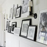 Traditional Home - entrances/foyers - picture rail, black, white, photo walls, photo wall collage, photo wall ideas, family photo walls, photo ledge, photo ledges, family photo ledges, photo ledges,