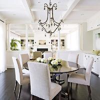 Traditional Home - dining rooms - gray, walls, coffered ceiling, bronze, crystal, drops, chandelier, round, dining table, Sutcliffe Dining Table, Restoration Hardware Hudson Parsons Upholstered Side Chair,
