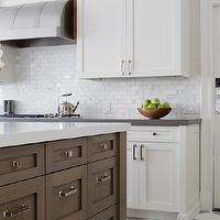 Foley & Cox - kitchens - white, gray, checkered, tiles, floor, walnut, kitchen island, white, quartz, countertop, white, shaker, kitchen cabinets, gray, quartz, countertops, marble, subway tiles, backsplash, stainless steel, barrel, range, hood,