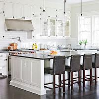 Traditional Home - kitchens - green, gray, walls, creamy, white, kitchen cabinets, kitchen island, black, honed, granite, countertops, Ann sacks, subway tiles, backsplash, brown, leather, counter stools, Rohl, farmhouse sink, Rohl, faucets, Rohl, pot filler, Benjamin Moore Cloud White, Niche Modern Bella Pendant,