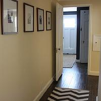 Russet Street Reno - entrances/foyers - ivory, walls, black, white, photo gallery, west elm runner, zigzag runner, West Elm Zigzag Rug,  Fantastic