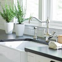 Traditional Home - kitchens - Ann sacks, subway tiles, backsplash, honed, black, granite, countertop, Rohl, faucet kit, Rohl, farmhouse, sink,