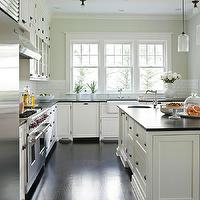 Traditional Home - kitchens - gray, green, walls, creamy, white, shaker, kitchen cabinets, kitchen island, honed, black, granite, countertops, Ann  sacks, subway tiles, backsplash, cloud white cabinets, cloud white kitchen cabinets, white kitchen cabinets, painted kitchen cabinets, white cabinet paint colors, white kitchen cabinet paint colors, Niche Modern Bella Pendant,