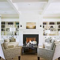 Traditional Home - living rooms - coffered ceiling, wall, French doors, transom, windows, built-ins, flanking, fireplace, herringbone, firebox, sisal, rug, ivory, sofas, gray, accent chairs, art, built-in cabinets, built-ins, living room built-ins, white built-ins, white built-in cabinets, built-in bookcase, living room bookcase, fireplace built-ins, fireplace built-in bookcase, fireplace bookcase, floor to ceiling built-ins, floor to ceiling built in cabinets, floor to ceiling built in bookcase, benjamin Moore Cloud White,