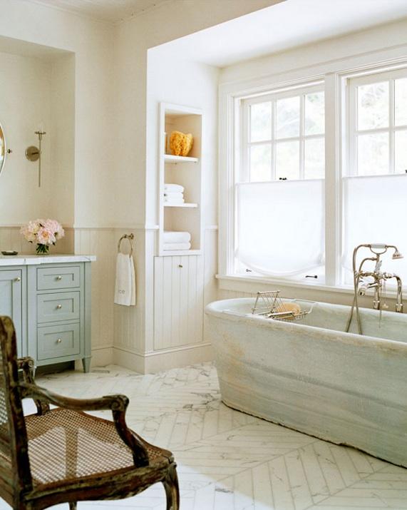Cottage Style Bathroom Floor Tile : Marble herringbone floor cottage bathroom wick design