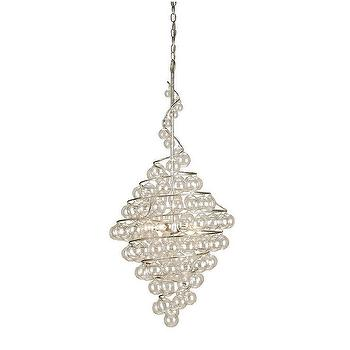 Currey & Company 9001 4 Light Wanderlust Chandelier, Contemporary Silver Leaf, Lighting Universe