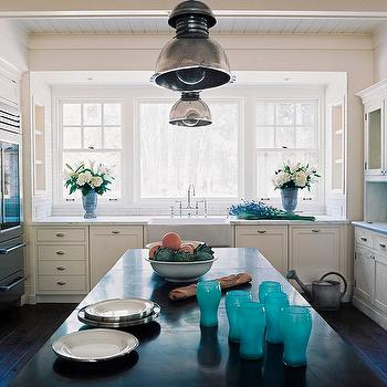 Wick Design - kitchens - groove, ceiling, white, kitchen cabinets, marble, countertops, white, kitchen island, black, countertop, farmhouse, sink, subway tiles, backsplash, industrial, pendants, glass-front, fridge, turquoise accents, turquoise kitchen accents,