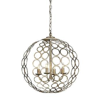 Currey & Company 9961 4 Light Tartufo Chandelier, Antique Silver Leaf, Lighting Universe