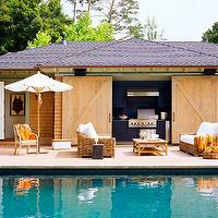 Wick Design - pools - pool, cabana, sliding, barn doors, outdoor kitchen, BBQ, blue, kitchen cabinets, outdoor, wicker, furniture, cabana, pool cabana,