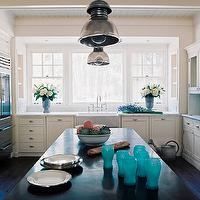 Wick Design - kitchens - groove, ceiling, white, kitchen cabinets, marble, countertops, white, kitchen island, black, countertop, farmhouse, sink, subway tiles, backsplash, industrial, pendants, glass-front, fridge,