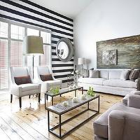 Ty Larkins Interiors - living rooms - white, black, horizontal, stripe, accent wall, gray, convex, mirrors, white, curved arm, chairs, white, sofa, gray, chairs, stripe wall, striped wall, black and white striped wall, white and black striped wall,