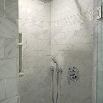 Cassia Design - bathrooms - marble, subway tiles, shower surround, small, marble, inset, tiles, marble shower surround, marble walk in shower, open shower, open marble shower,