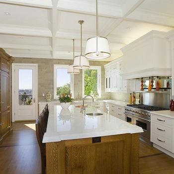 William Adams Design - kitchens - coffered ceiling, white, kitchen cabinets, oak, walnut, kitchen island, marble, countertops, wall, built-ins, cabinets, small, round, sink, kitchen island, coffered ceiling, kitchen coffered ceiling, coffered ceiling kitchen, Robert Abbey Chase Pendant,