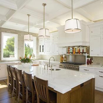 William Adams Design - kitchens - coffered ceiling, white, kitchen cabinets, oak, walnut, stained, kitchen island, marble, countertops, small, round, sink, kitchen island, chase pendant, Robert Abbey Chase Pendant,