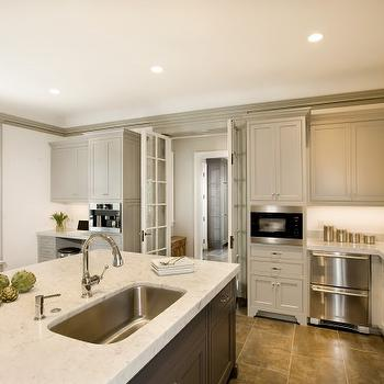 Cassia Design - kitchens - light gray, kitchen cabinets, gray, moldings, dark, gray, kitchen island, marble, countertops, stacked, dishwashers, porcelain, tiles, floor, sink in kitchen island, French doors, stacked dishwashers, stainless steel stacked dishwashers,