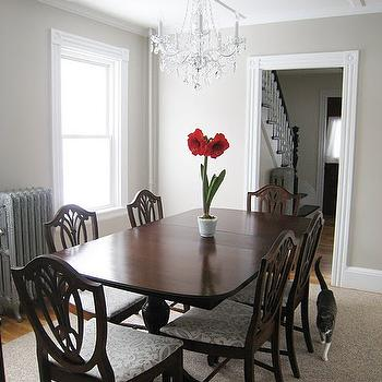 5 Crown Kabinky - dining rooms - greige, walls, chippendale, dining set, crystal chandelier, kitty cat, shield back chairs, shield back dining chairs,