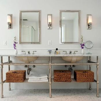 Cassia Design - bathrooms - marble, hex, tiles, floor, pencil rail, subway tiles, backsplash, marble, top, 6 leg, double washstand, double sinks, twin, inset, medicine cabinets, woven, baskets, gray, walls, 5 leg washstand, 5 leg double washstand, Restoration Hardware Sutton Single Sconce,