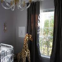 Material Girls - nurseries - gray, lilac, walls, white, Jenny Lind, crib, brass, acrylic, lucite, crib, lilac gray paint color, lilac gray paint, lilac gray walls, lilac gray nursery paint color, lilac gray nursery paint, lilac gray nursery walls, , FAO Schwarz Melissa & Doug Plush Giraffe,