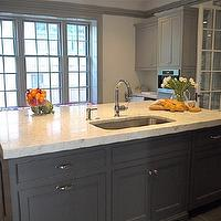 Cassia Design - kitchens - charcoal, gray, kitchen island, marble, countertop, porcelain, tiles, floor, French, doors, gray, shaker, kitchen cabinets, gray, moldings, sink in kitchen island, gray kitchen cabinets, gray kitchens, gray cabinets, gray kitchen islands, charcoal gray kitchen cabinets, charcoal gray kitchens, charcoal gray cabinets, charcoal gray kitchen island,