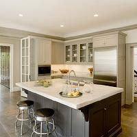 Cassia Design - kitchens - French doors, gray, moldings, light gray, kitchen cabinets, charcoal gray, kitchen island, marble, countertops, retro, stools, porcelain, tiles, floor, gray kitchen cabinets, gray kitchens, gray cabinets, gray kitchen island, charcoal gray kitchen cabinets, charcoal gray cabinets, charcoal gray kitchen island, charcoal gray islands,