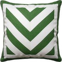Pillows - Deluca Chevron Veridian Piped Pillow - Ryan Studio - green, deluca, chevron, veridian, piped, pillow