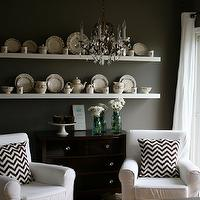 Our Life with Miley - dining rooms - war, gray, walls, vintage, chest, zigzag, pillows, gray walls, grey walls, gray paint, grey paint, gray paint color, grey paint color, gray wall paint, grey wall paint, gray dining room walls, grey dining room walls, gray dining room paint, grey dining room paint, gray dining room paint color, grey dining room paint color, Ikea Lack Shelf, Ikea Ektorp Jennylund Chair,
