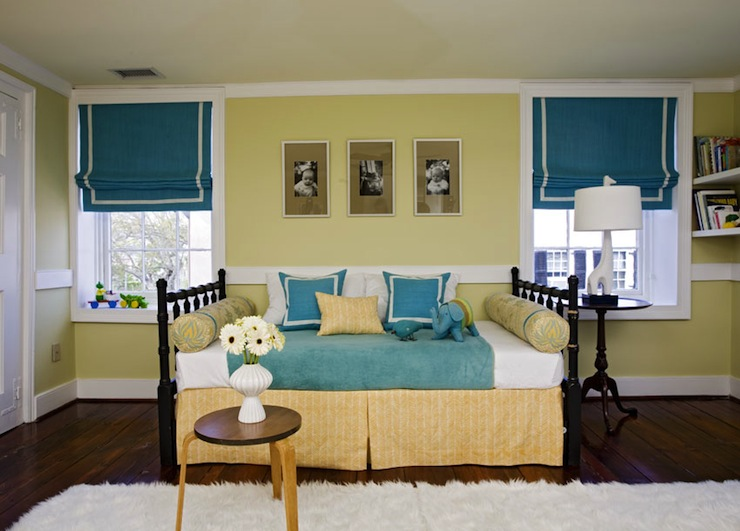 Angie Hranowski - girl's rooms - Jonathan Adler Giraffe Lamp, white, flokati, rug, yellow, walls, teal, blue, roman shades, white, trim, black, bed, yellow, bed skirt, yellow, bolster, pillows, teal, blue, pillows, roman shades, window treatments, teal roman shades, teal window treatments, yellow and teal bedroom,
